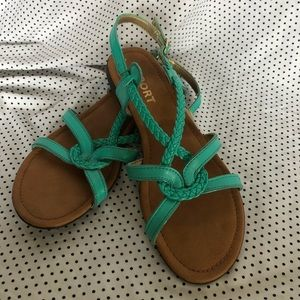 Mint green flat sandals